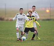 Charleston (yellow) v Fife Thistle (white) in the Dundee Saturday Morning Football League at University Grounds, Riverside, Dundee.Photo: David Young<br /> <br />  - © David Young - www.davidyoungphoto.co.uk - email: davidyoungphoto@gmail.com