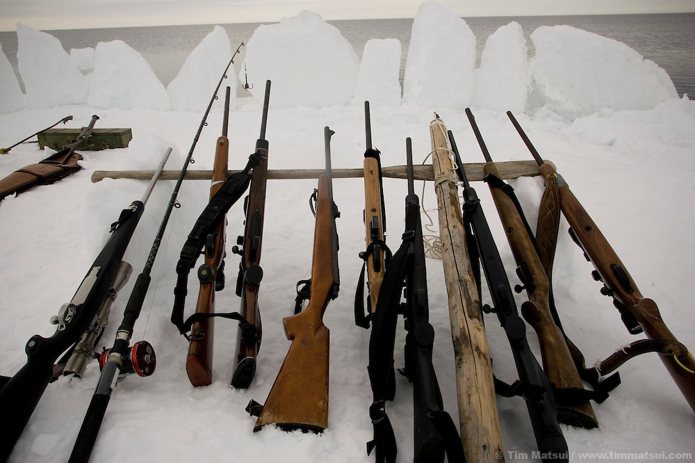 May 3, 2008 -- Kivalina, AK, U.S.A..Weapons lie at ready for seal or whale at Austin Swan's whaling camp on the melting pack ice some two miles from shore and 12 miles from the native village of Kivalina, Alaska. Kivalina is suing 20 oil companies for property damage related to global warming; the ocean pack ice forms later and melts earlier, leaving the town vulnerable to erosive winter storms and endangering their traditional subsistence lifestyle. (Photo by Tim Matsui)
