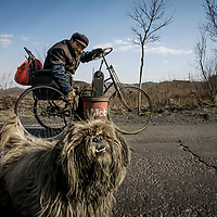 Accompanied by his dog, Liao Jianguo travels by hand-crank wheelchair through the hilly countryside near his home in Huagetou county, Shanxi province. Mr. Liao's back was broken when a mineshaft collapsed on him when he was a young man.