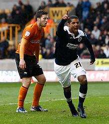 Huddersfield's Jermaine Beckford celebrates scoring the second goal- Photo mandatory by-line: Matt Bunn/JMP  - Tel: Mobile:07966 386802 13/04/2013 - Wolverhampton Wanderers v Huddersfield Town - SPORT - FOOTBALL - Championship -  Wolverhampton - Molinuex-