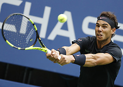 NEW YORK, Sept. 11, 2017  Rafael Nadal of Spain hits a return during the Men's singles final match against Kevin Anderson of South Africa at the 2017 US Open in New York, the United States, Sept. 10, 2017. Rafael Nadal won 3-0 to claim the title. (Credit Image: © Qin Lang/Xinhua via ZUMA Wire)