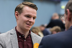 Maidenhead, UK. 12 December, 2019. Joshua Reynolds, Liberal Democrat candidate, speaks to representatives of the media at the count for the general election for the Maidenhead constituency.