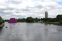 Christo and Jeanne Claude's Floating 20-metre-high Serpentine sculpture made from 7,506 barrels, Weighs 650 Tons., The London Mastaba, Serpentine Lake, Hyde Park, London, UK, 19 June 2018, Photo by Richard Goldschmidt