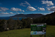 We're Saving the Tasmanian Devil - public information sign at an outlook over Pirate Bay, near Eaglehawk Neck, between the Forestier Peninsula and the Tasman Peninsula. In the wild, tasmanian devils have become endangered due to a contagious cancer which causes facial tumours, causing the animals to starve to death. In December 2009, Woods announced that he and other researchers had found  that the disease may be related a peripheral nerve cell, called the Schwann cell, which has led some hopes for preserving the devil, at least in terms of quarantine insurance populations.