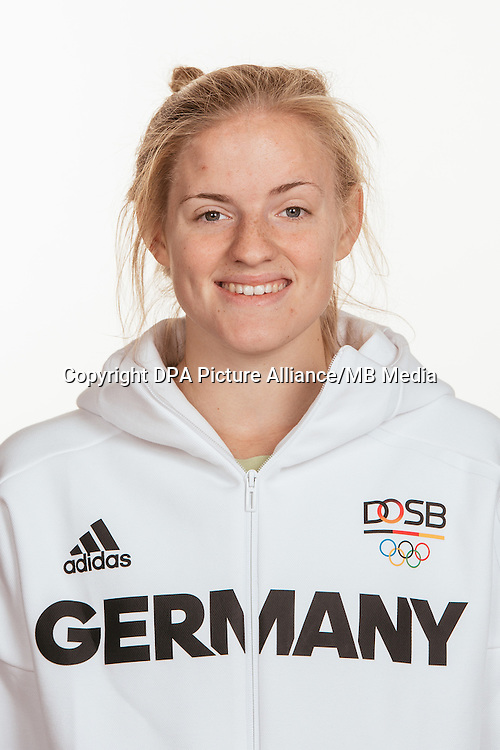 Annika Sprink poses at a photocall during the preparations for the Olympic Games in Rio at the Emmich Cambrai Barracks in Hanover, Germany, taken on 15/07/16 | usage worldwide