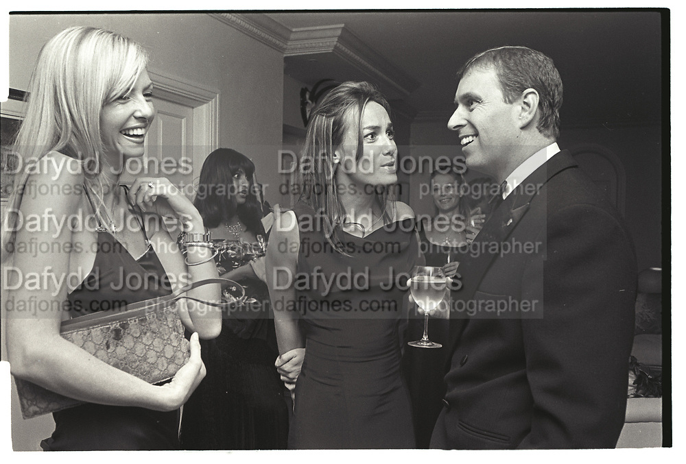 AMANDA CRONIN, TARA PALMER-TOMPKINSON, PRINCE ANDREW, Mala Lindsay dinner party, Chelsea, London. September 1999