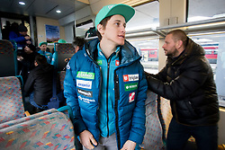 Peter Prevc during driving of Slovenian National Ski jumping Team from Ljubljana by train to the FIS World Cup Ski Jumping Final Planica 2018, on March 21, 2018 in Ljubljana, Slovenia. Photo by Urban Urbanc / Sportida