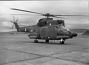 "Air Corps Takes Delivery Of Puma Helicoptor. (N86)..1981..22.07.1981..07.22.1981..22nd July 1981..The Air Corps took delivery,today, of a new French Built SA 330 J ""Puma"" Helicoptor. The ""Puma"" escorted by another Air Corps helicoptor landed at Casement Aerodrome, Baldonnell,Co Dublin...Image shows the ""Puma"" taxiing along the tarmac at Casement Aerodrome after landing."