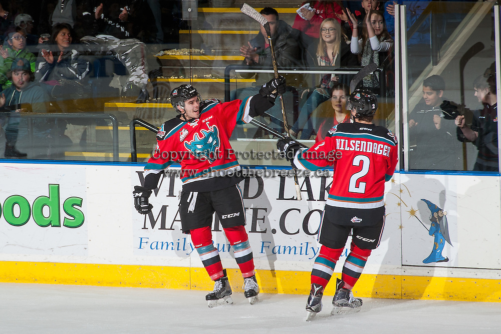 KELOWNA, CANADA - DECEMBER 7: Rodney Southam #17 and James Hilsendager #2 of the Kelowna Rockets celebrate a second period goal against the Seattle Thunderbirds on December 7, 2016 at Prospera Place in Kelowna, British Columbia, Canada.  (Photo by Marissa Baecker/Shoot the Breeze)  *** Local Caption ***