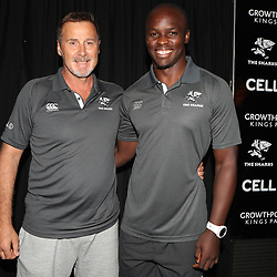 Robert du Preez (Head Coach) of the Cell C Sharks with Lubabalo Tera Mtembu during The Cell C Sharks press conference and training session at Growthpoint Kings Park in Durban, South Africa. 16th March 2017(Photo by Steve Haag)<br /> <br /> images for social media must have consent from Steve Haag