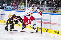 09.04.2019, Eisarena, Salzburg, AUT, EBEL, EC Red Bull Salzburg vs Vienna Capitals, Halbfinale, 6. Spiel, im Bild v.l.: Emilio Romig (Vienna Capitals), Brant Harris (EC Red Bull Salzburg) // during the Erste Bank Icehockey 6th semifinal match between EC Red Bull Salzburg vs Vienna Capitals at the Eisarena in Salzburg, Austria on 2019/04/09. EXPA Pictures © 2019, PhotoCredit: EXPA/ JFK