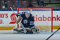 PENTICTON, CANADA - SEPTEMBER 8: Mikhail Berdin #60 of the Winnipeg Jets makes a stick save against the Vancouver Canucks on September 8, 2017 at the South Okanagan Event Centre in Penticton, British Columbia, Canada.  (Photo by Marissa Baecker/Shoot the Breeze)  *** Local Caption ***