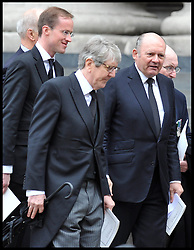 Conservative Party donor Michael Spencer(right) attends Lady Thatcher's funeral at St Paul's Cathedral following her death last week, London, UK, Wednesday 17 April, 2013, Photo by: Andrew Parsons / i-Images