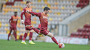 Billy Knott (Bradford) has the firs shot of the match - just wide during the The FA Cup match between Bradford City and Chesham FC at the Coral Windows Stadium, Bradford, England on 6 December 2015. Photo by Mark P Doherty.
