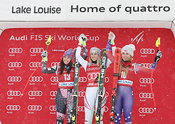 01.12.2017, Lake Louise, CAN, FIS Weltcup Ski Alpin, Lake Louise, Abfahrt, Damen, Siegerehrung, im Bild v.l.: Tina Weirather (LIE, 2. Platz), Siegerin Cornelia Huetter (AUT),Mikaela Shiffrin (USA, 3. Platz) // 2nd placed Tina Weirather of Liechtenstein, Winner Cornelia Huetter of Austria, 3rd placed Mikaela Shiffrin of the USA during the winner Ceremony for the ladie's downhill of FIS Ski Alpine World Cup in Lake Louise, Canada on 2017/12/01. EXPA Pictures © 2017, PhotoCredit: EXPA/ SM<br /> <br /> *****ATTENTION - OUT of GER*****