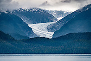 Eagle Glacier, Tongass National Forest, Juneau, Alaska, USA. Photographed from the ferry (Alaska Marine Highway System) southbound from Haines to Juneau.
