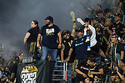 LAFC fans celebrate after LAFC forward Carlos Vela (10)  scores a goal in an MLS soccer match against the San Jose Earthquakes, LAFC wins 4-0 on Wednesday, Aug. 21, 2019, in Los Angeles. (Ed Ruvalcaba/Image of Sport)