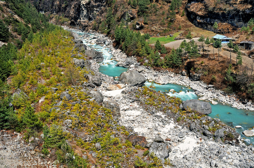 Nepal, Himalayas. Mountain river in the Everest region.
