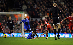 Frank Lampard gets sent off for this reckless challenge on Xabi Alonso during the Barclays Premier League match between Liverpool and Chelsea at Anfield on February 1, 2009 in Liverpool, England.