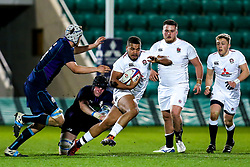 Ollie Lawrence of England U20 is tackled - Mandatory by-line: Robbie Stephenson/JMP - 15/03/2019 - RUGBY - Franklin's Gardens - Northampton, England - England U20 v Scotland U20 - Six Nations U20