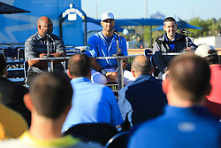 March 20, 2017 - Port Charlotte, Florida, U.S. - WILL VRAGOVIC       Times.Tampa Bay Rays center fielder Kevin Kiermaier (39), center, answers questions during a press conference announcing his six-year, $53.5 million deal with the team at Charlotte Sports Park in Port Charlotte, Fla. on Friday, March 17, 2017. Also pictured, agent Larry Reynolds, left, and Rays president of baseball operations Matt Silverman. (Credit Image: © Will Vragovic/Tampa Bay Times via ZUMA Wire)