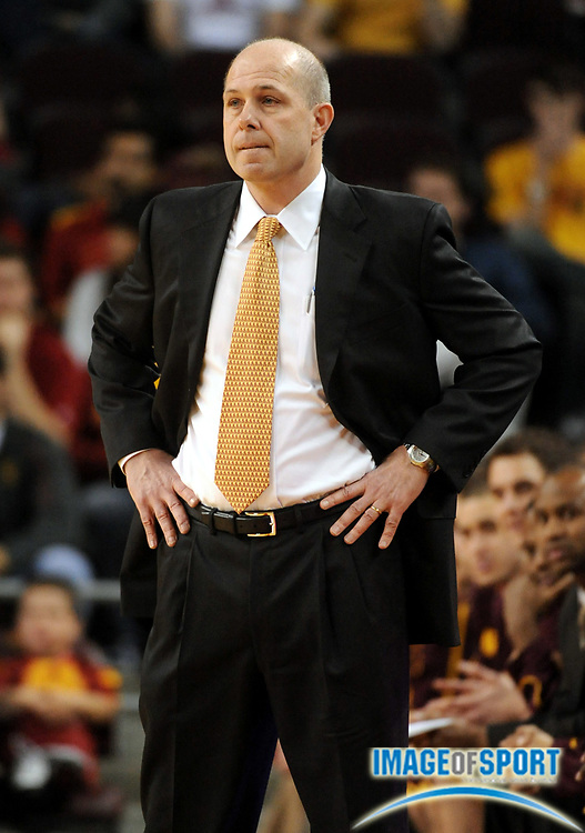 Jan 2, 2009; Los Angeles, CA, USA; Arizona State Sun Devils coach Herb Sendek watches during the game against the Southern California Trojans at the Galen Center.
