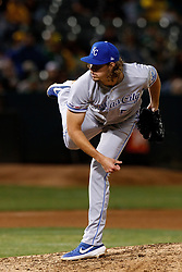 OAKLAND, CA - SEPTEMBER 16: Scott Barlow #58 of the Kansas City Royals pitches against the Oakland Athletics during the sixth inning at the RingCentral Coliseum on September 16, 2019 in Oakland, California. The Kansas City Royals defeated the Oakland Athletics 6-5. (Photo by Jason O. Watson/Getty Images) *** Local Caption *** Scott Barlow