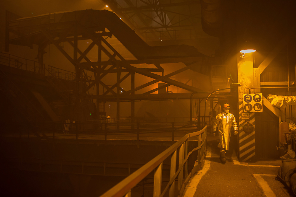 A worker in the converter at the Azovstal Iron and Steel Works on Friday, March 18, 2016 in Mariupol, Ukraine.