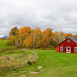 A barn at Mountain View Farm in fall in Vermont's Northeast Kingdom.  East Burke.