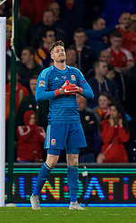 CARDIFF, WALES - Friday, November 16, 2018: Wales' goalkeeper Wayne Hennessey looks dejected as Denmark score the opening goal during the UEFA Nations League Group Stage League B Group 4 match between Wales and Denmark at the Cardiff City Stadium. (Pic by David Rawcliffe/Propaganda)