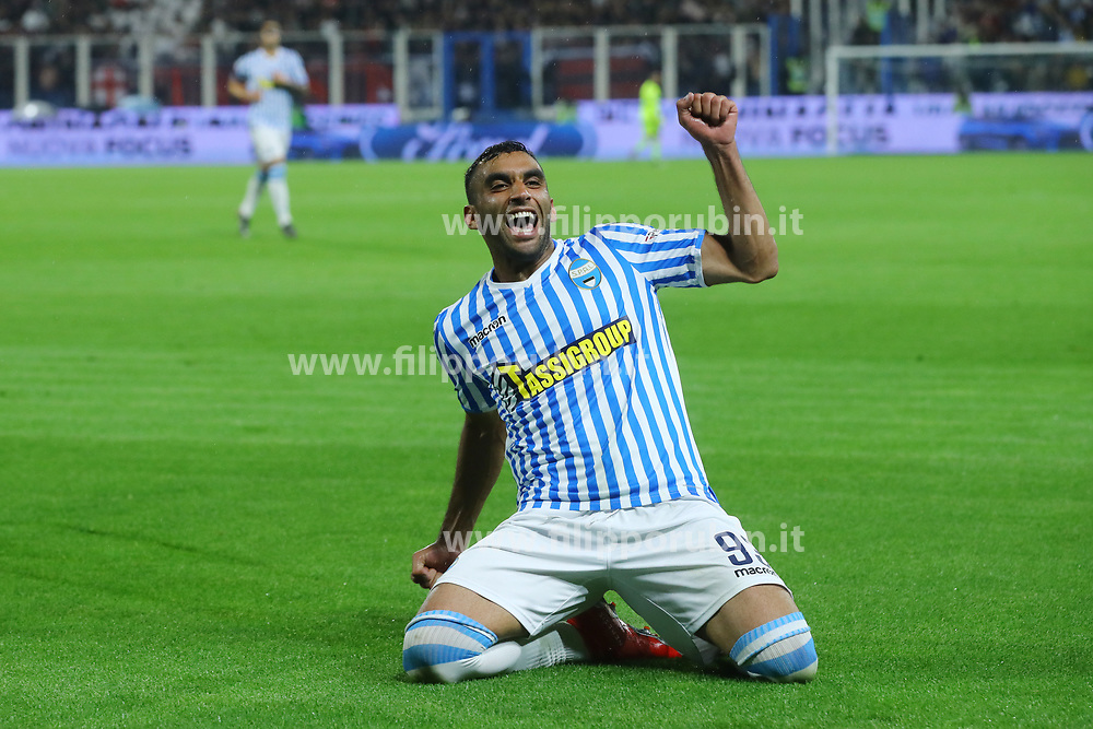 "Foto LaPresse/Filippo Rubin<br /> 26/05/2019 Ferrara (Italia)<br /> Sport Spal - Milan - Campionato di calcio Serie A 2018/2019 - Stadio ""Paolo Mazza""<br /> Nella foto: ESULTANZA GOAL SPAL MOHAMED FARES (SPAL)<br /> <br /> Photo LaPresse/Filippo Rubin<br /> May 26, 2019 Ferrara (Italy)<br /> Sport Soccer<br /> Spal vs Milan - Italian Football Championship League A 2018/2019 - ""Paolo Mazza"" Stadium <br /> In the pic: CELEBRATION GOAL SPAL MOHAMED FARES (SPAL)"