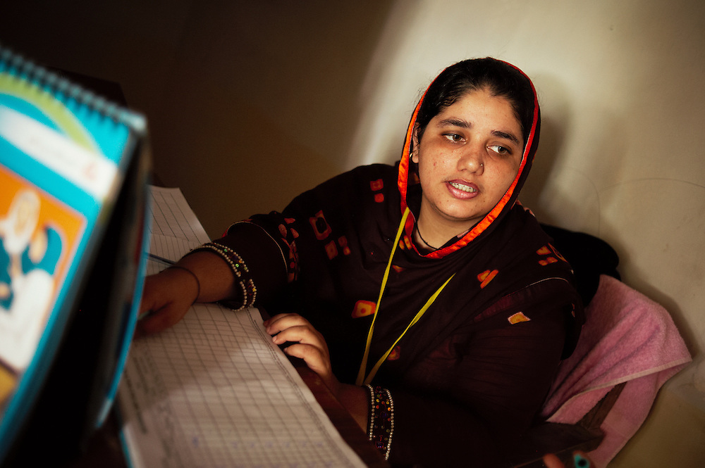Sonya Mehmod, a lady health visitor at the Bhu Khero government health clinic, Dadu, Sindh, Pakistan on July 5, 2011. She has worked at the clinic for two months, she delivers babies and is on high alert for potential floods.