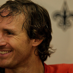 10 August 2009: New Orleans Saints quarterback Drew Brees talks to the media following practice during New Orleans Saints training camp at the team's indoor practice facility in Metairie, Louisiana.