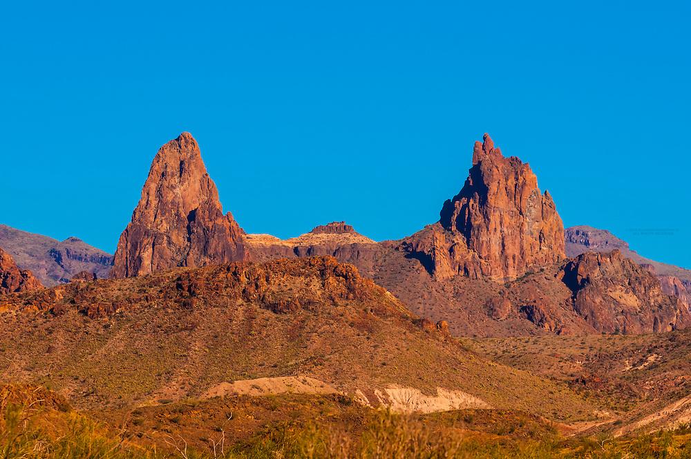 The Mule Ears Peaks, Chihuahuan Desert, Big Bend National Park, Texas USA.