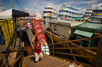 Unloading Amazon River passenger boats in Manaus, in amazonas State in Brazil.