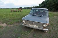Car near  lake Belau in Moldova