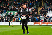 Plymouth Argyle manager Derek Adams on the pitch watching the warm up before the EFL Sky Bet League 2 match between Plymouth Argyle and Accrington Stanley at Home Park, Plymouth, England on 1 April 2017. Photo by Graham Hunt.