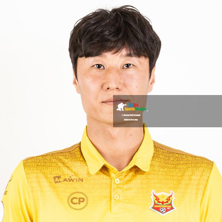 THAILAND - JUNE 29: Jung Myoungoh #16 of Sukhothai FC on June 29, 2019.<br /> .<br /> .<br /> .<br /> (Photo by: Naratip Golf Srisupab/SEALs Sports Images/MB Media Solutions)
