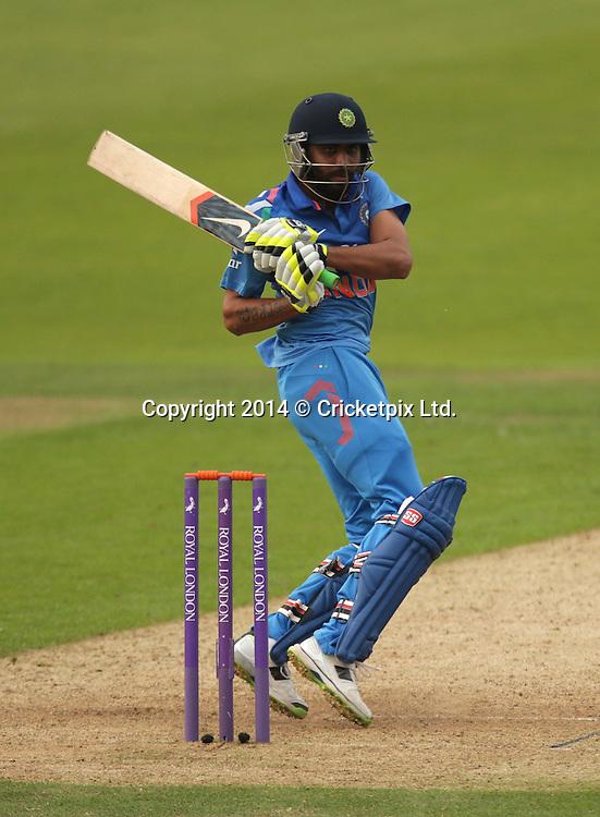 Ravindra Jadeja bats during the fifth and final Royal London One Day International between England and India at Headingley, Leeds. Photo: Graham Morris/www.cricketpix.com (Tel: +44 (0)20 8969 4192; Email: graham@cricketpix.com) 050914