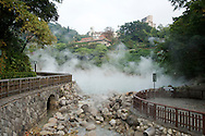 """Natural hot spring water rises from """"Hell Valley"""" in Taipei, Taiwan's Beitou hot spring District."""