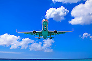 An American Airlines jet on final approach into St. Maarten's Princess Juliana International Airport.  Created by aviation photographer John Slemp of Aerographs Aviation Photography. Clients include Goodyear Aviation Tires, Phillips 66 Aviation Fuels, Smithsonian Air & Space magazine, and The Lindbergh Foundation.  Specialising in high end commercial aviation photography and the supply of aviation stock photography for commercial and marketing use.