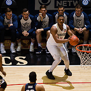22 December 2018: San Diego State Aztecs forward Matt Mitchell (11) makes an uncontested three in the first half. The Aztecs beat the Cougars 90-81 Satruday afternoon at Viejas Arena.
