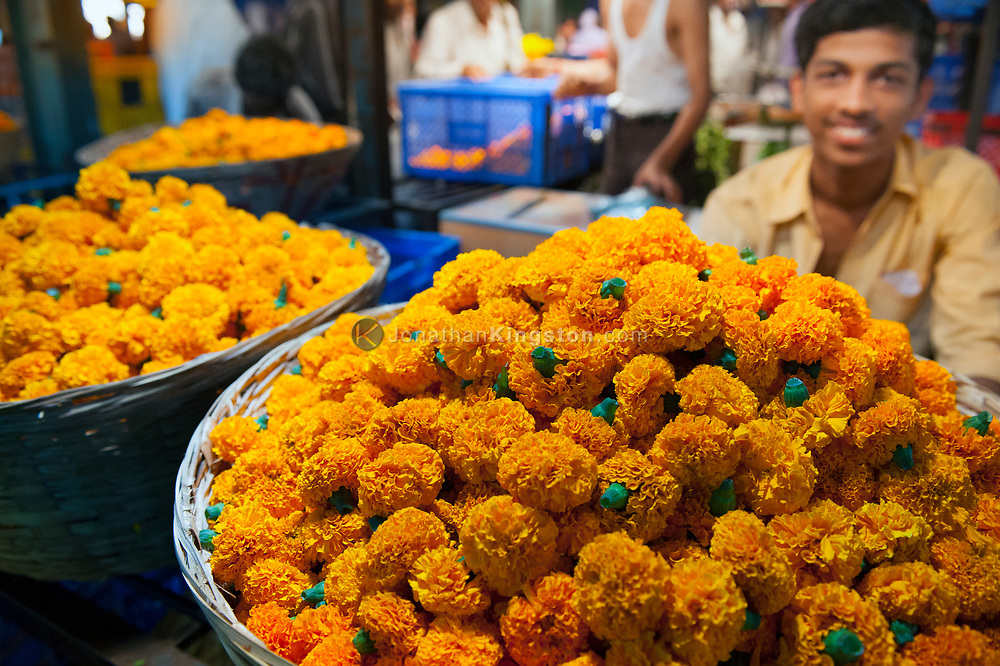 Marigold flowers for sale in the Dadar flower market, Mumbai, India.