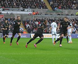 Manchester City's Fernandinho celebrates his goal. - Photo mandatory by-line: Alex James/JMP - Tel: Mobile: 07966 386802 01/01/2014 - SPORT - FOOTBALL - Liberty Stadium - Swansea - Swansea City v Manchester City - Barclays Premier League
