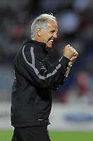 FOOTBALL - FRENCH CHAMPIONSHIP 2011/2012 - L1 - LILLE OSC v MONTPELLIER HSC - 14/08/2011 - PHOTO JEAN MARIE HERVIO / DPPI - JOY RENE GIRARD (COACH MONTPELLIER) AT THE END OF THE MATCH