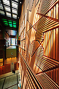 An amazing mix of wood, glass, and light in the Al Souq Al Markazy in Abu Dhabi.