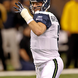 November 21, 2010; New Orleans, LA, USA; Seattle Seahawks quarterback Matt Hasselbeck (8) during warm ups prior to kickoff of a game against the New Orleans Saints at the Louisiana Superdome. The Saints defeated the Seahawks 34-19. Mandatory Credit: Derick E. Hingle