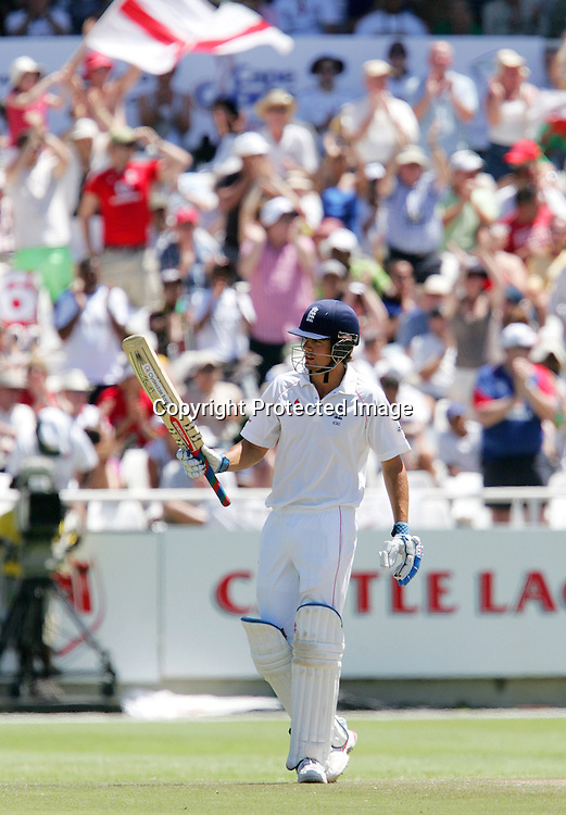 Alastair Cook celebrates his fifty (half century) during the 2nd day of the third test match between South Africa and England held at Newlands Cricket Ground in Cape Town on the 4th January 2010.Photo by: Ron Gaunt/ SPORTZPICS