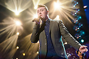 Sam Smith performing at the iHeartRadio Jingle Ball 2014, hosted by Z100 New York at Madison Square Garden on December 12, 2014 in New York City.