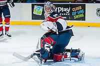 KELOWNA, CANADA -FEBRUARY 19: Eric Comrie #1 of the Tri City Americans warms up against the Kelowna Rockets on February 19, 2014 at Prospera Place in Kelowna, British Columbia, Canada.   (Photo by Marissa Baecker/Getty Images)  *** Local Caption *** Eric Comrie;